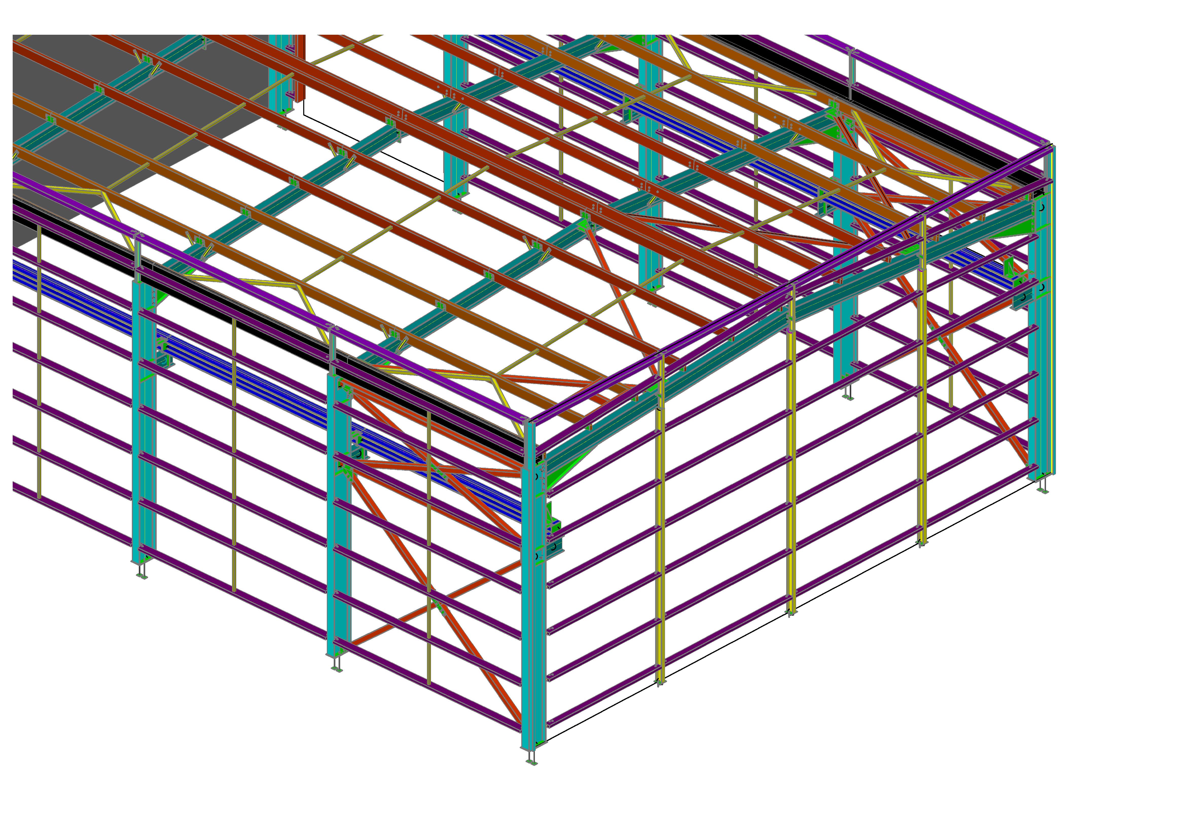 Bâtiment industriel acier et bois avec voies de roulement de pont roulant - Optimax Structures