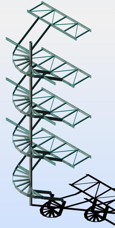 Calcul de structure métallique - escalier hélicoïdal